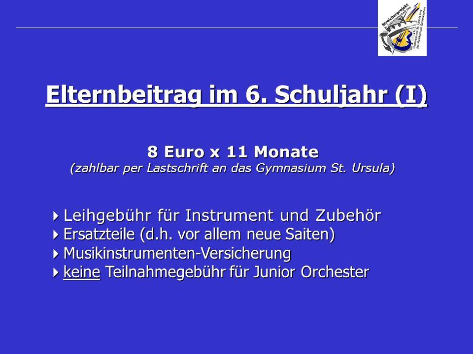 8 Euro x 11 Monate (zahlbar per Lastschrift an das Gymnasium St. Ursula) Leihgebühr für Instrument und Zubehör Leihgebühr für Instrument und Zubehör E