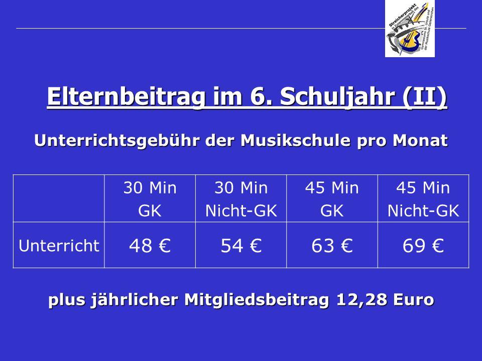 Unterrichtsgebühr der Musikschule pro Monat Elternbeitrag im 6. Schuljahr (II) 30 Min GK 30 Min Nicht-GK 45 Min GK 45 Min Nicht-GK Unterricht 48 54 63