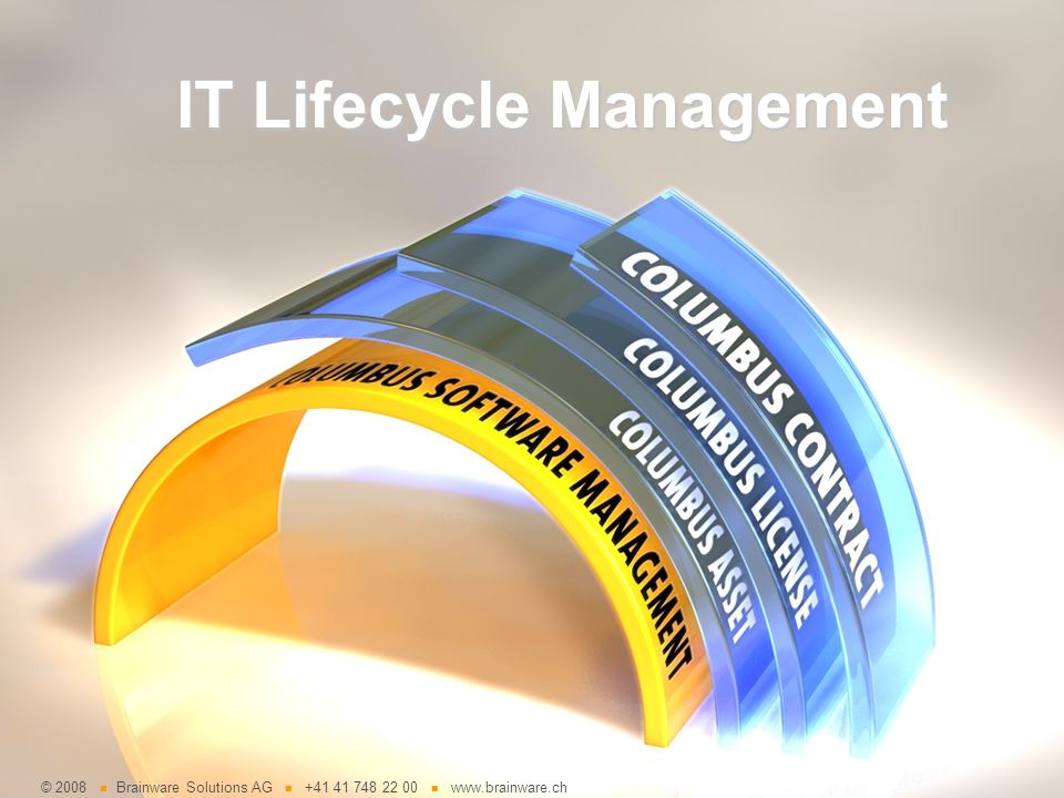 © 2008 Brainware Solutions AG +41 41 748 22 00 www.brainware.ch IT Lifecycle Management