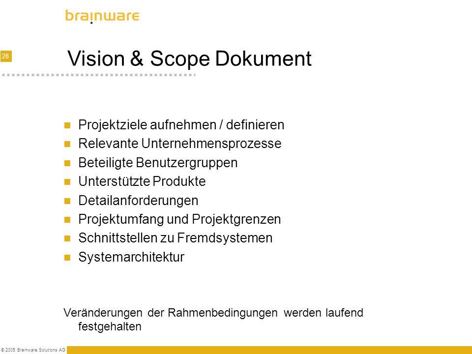 28 © 2005 Brainware Solutions AG Vision & Scope Dokument Projektziele aufnehmen / definieren Relevante Unternehmensprozesse Beteiligte Benutzergruppen