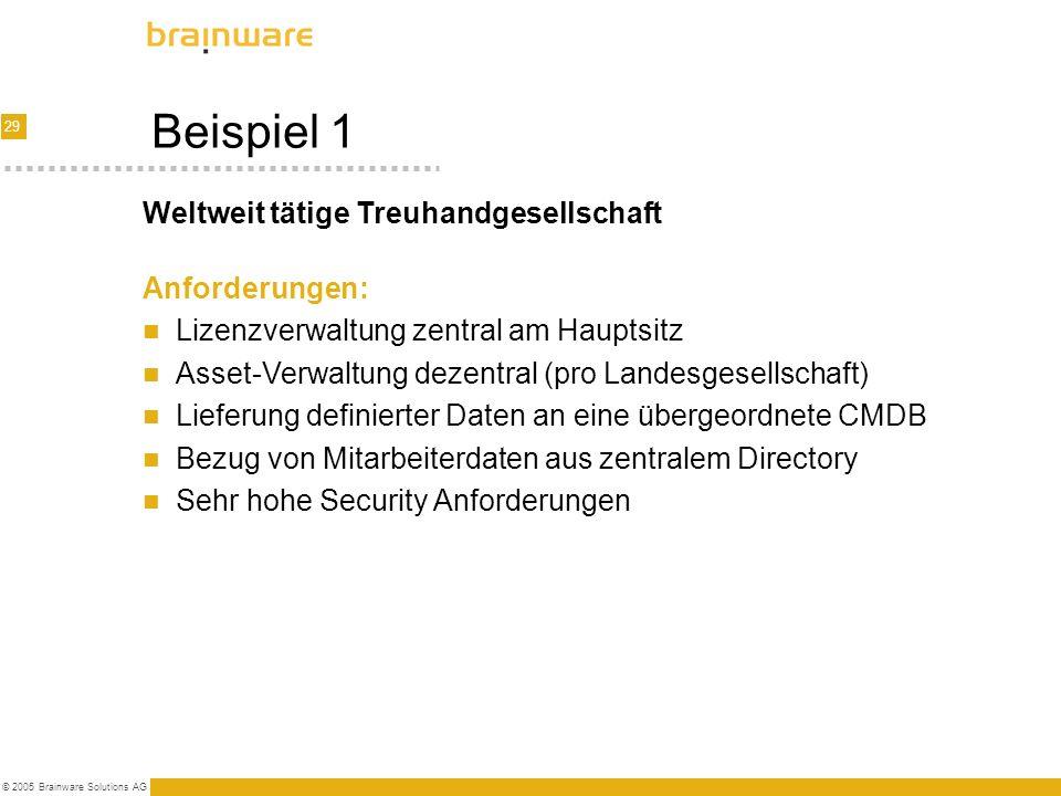 29 © 2005 Brainware Solutions AG Beispiel 1 Anforderungen: Lizenzverwaltung zentral am Hauptsitz Asset-Verwaltung dezentral (pro Landesgesellschaft) L