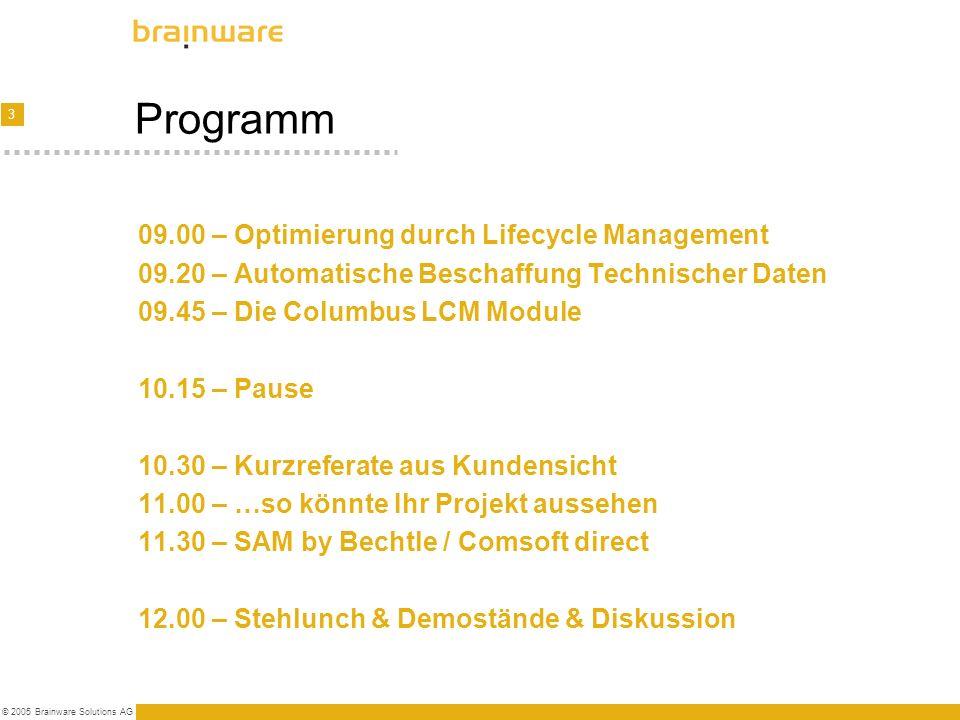 3 © 2005 Brainware Solutions AG Programm 09.00 – Optimierung durch Lifecycle Management 09.20 – Automatische Beschaffung Technischer Daten 09.45 – Die