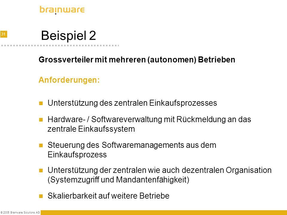 31 © 2005 Brainware Solutions AG Beispiel 2 Anforderungen: Unterstützung des zentralen Einkaufsprozesses Hardware- / Softwareverwaltung mit Rückmeldun