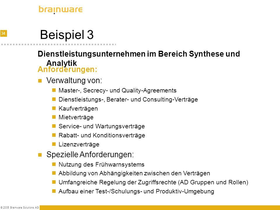 34 © 2005 Brainware Solutions AG Beispiel 3 Anforderungen: Verwaltung von: Master-, Secrecy- und Quality-Agreements Dienstleistungs-, Berater- und Con