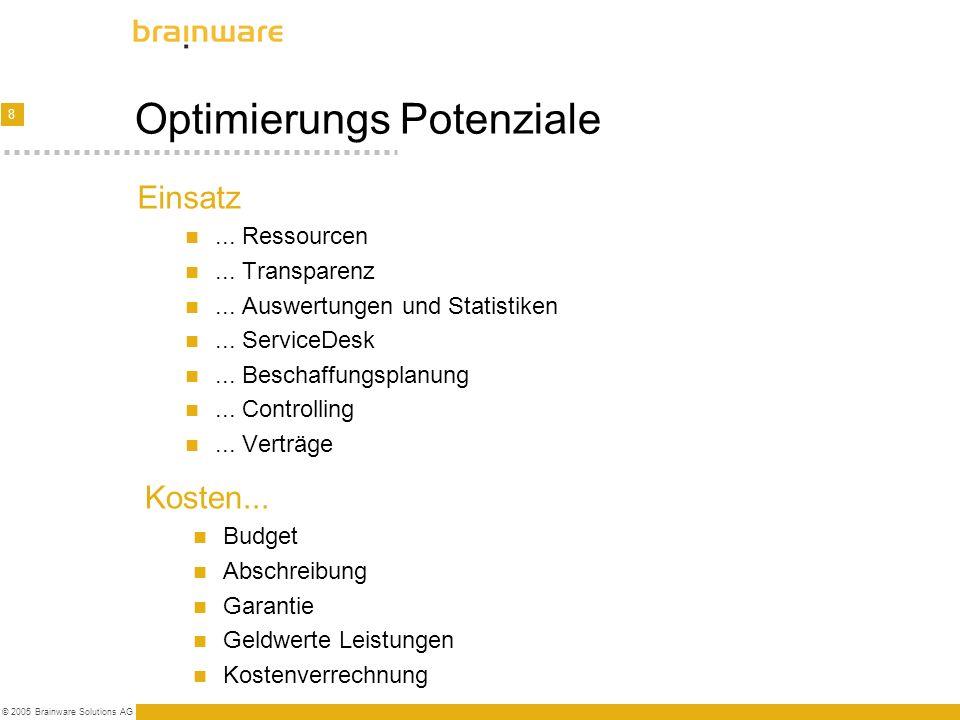 8 © 2005 Brainware Solutions AG Optimierungs Potenziale Einsatz... Ressourcen... Transparenz... Auswertungen und Statistiken... ServiceDesk... Beschaf