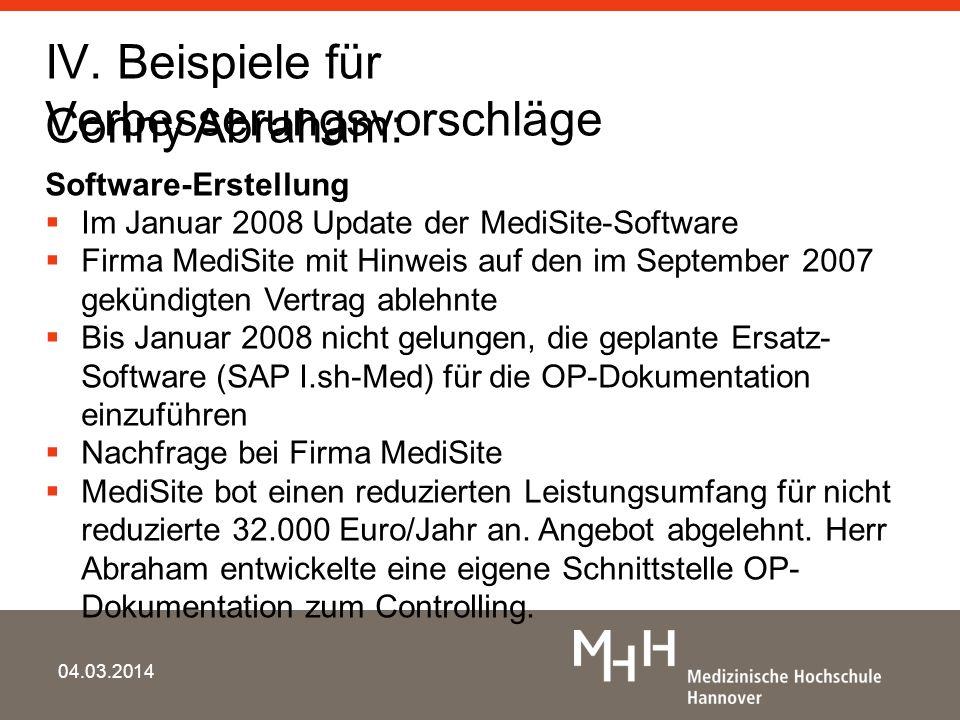 IV. Beispiele für Verbesserungsvorschläge 04.03.2014 Conny Abraham: Software-Erstellung Im Januar 2008 Update der MediSite-Software Firma MediSite mit