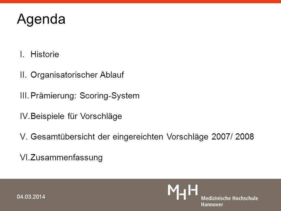Agenda 04.03.2014 I.Historie II.Organisatorischer Ablauf III.Prämierung: Scoring-System IV.Beispiele für Vorschläge V.Gesamtübersicht der eingereichte