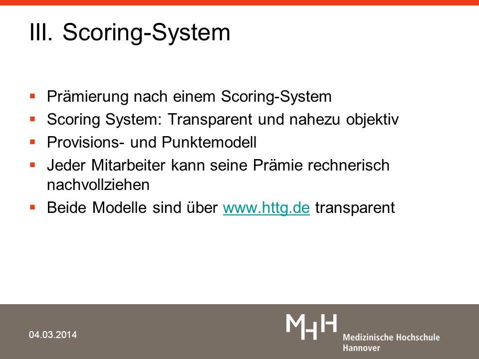 III. Scoring-System Prämierung nach einem Scoring-System Scoring System: Transparent und nahezu objektiv Provisions- und Punktemodell Jeder Mitarbeite