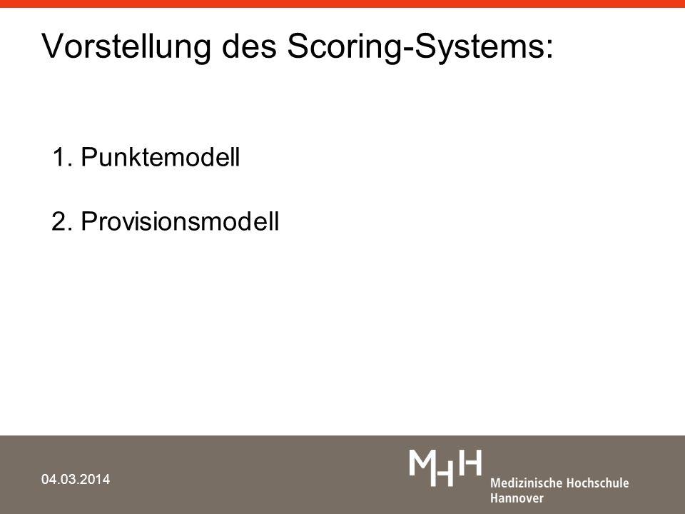 Vorstellung des Scoring-Systems: 04.03.2014 1. Punktemodell 2. Provisionsmodell