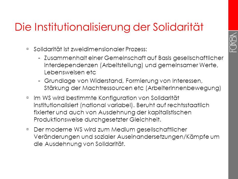 Die Institutionalisierung der Solidarität Solidarität ist zweidimensionaler Prozess: -Zusammenhalt einer Gemeinschaft auf Basis gesellschaftlicher Int