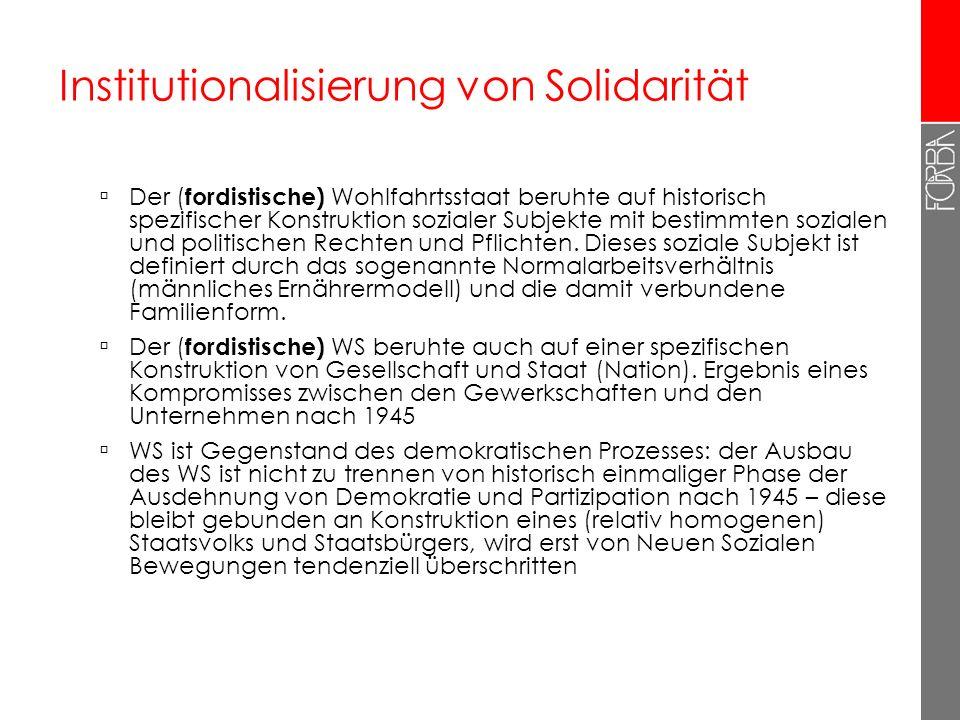 Institutionalisierung von Solidarität Der ( fordistische) Wohlfahrtsstaat beruhte auf historisch spezifischer Konstruktion sozialer Subjekte mit besti