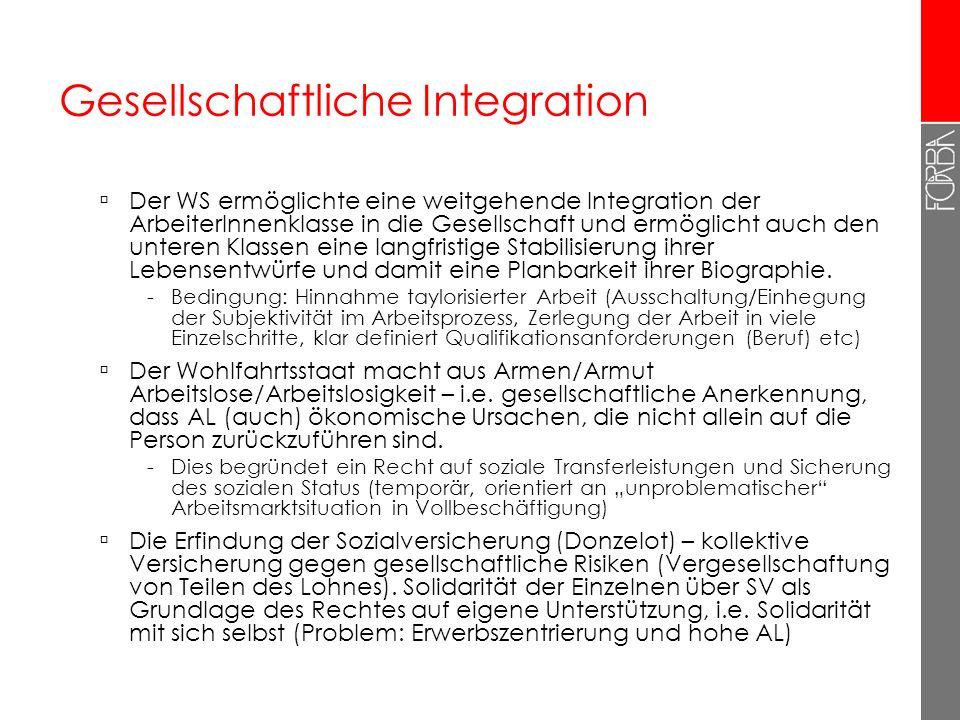 Gesellschaftliche Integration Der WS ermöglichte eine weitgehende Integration der ArbeiterInnenklasse in die Gesellschaft und ermöglicht auch den unte