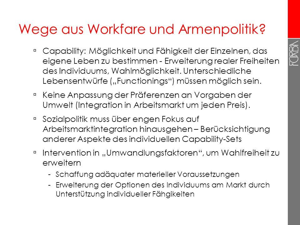 Wege aus Workfare und Armenpolitik? Capability: Möglichkeit und Fähigkeit der Einzelnen, das eigene Leben zu bestimmen - Erweiterung realer Freiheiten