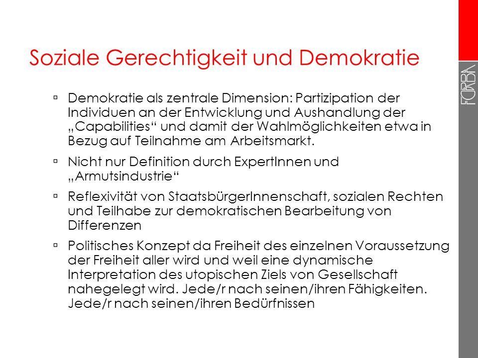 Soziale Gerechtigkeit und Demokratie Demokratie als zentrale Dimension: Partizipation der Individuen an der Entwicklung und Aushandlung der Capabiliti