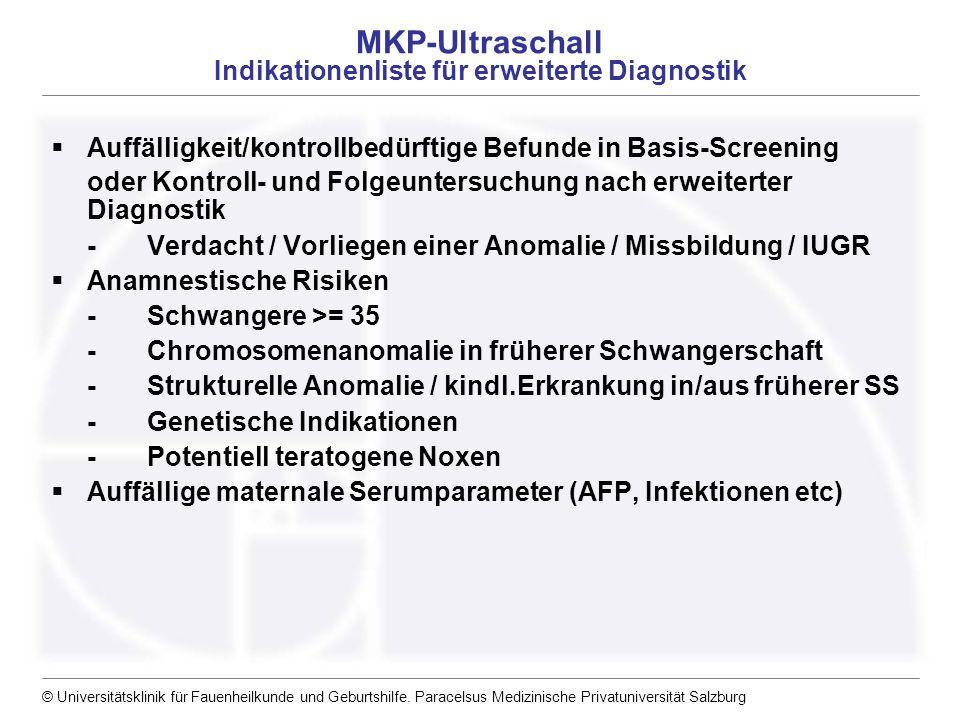 © Universitätsklinik für Fauenheilkunde und Geburtshilfe. Paracelsus Medizinische Privatuniversität Salzburg MKP-Ultraschall Indikationenliste für erw