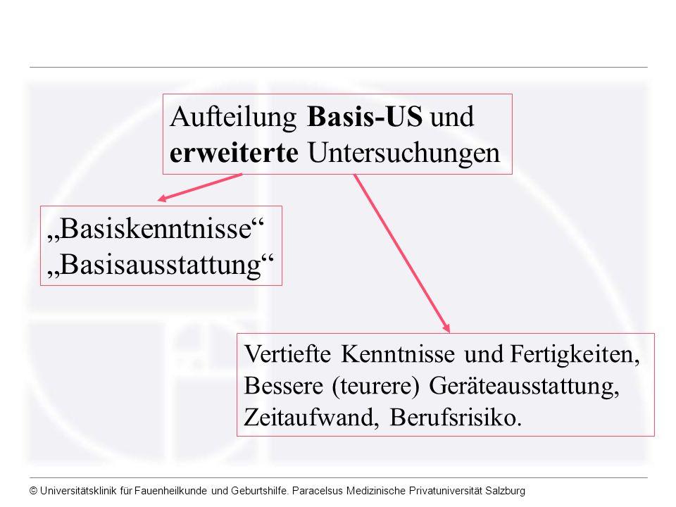 © Universitätsklinik für Fauenheilkunde und Geburtshilfe. Paracelsus Medizinische Privatuniversität Salzburg Aufteilung Basis-US und erweiterte Unters