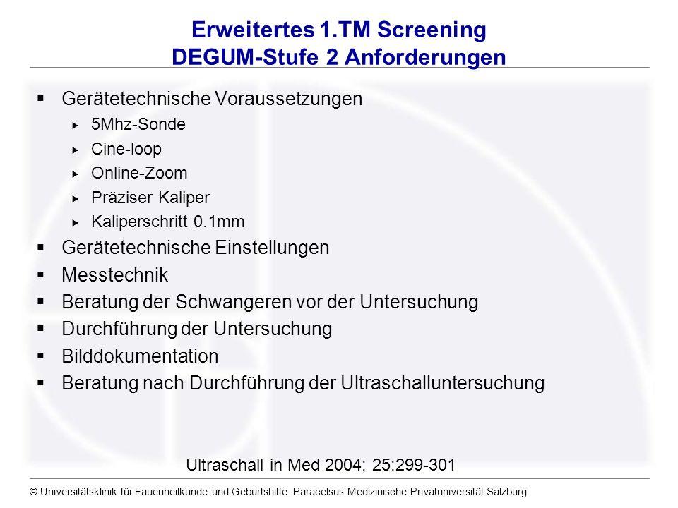 © Universitätsklinik für Fauenheilkunde und Geburtshilfe. Paracelsus Medizinische Privatuniversität Salzburg Erweitertes 1.TM Screening DEGUM-Stufe 2