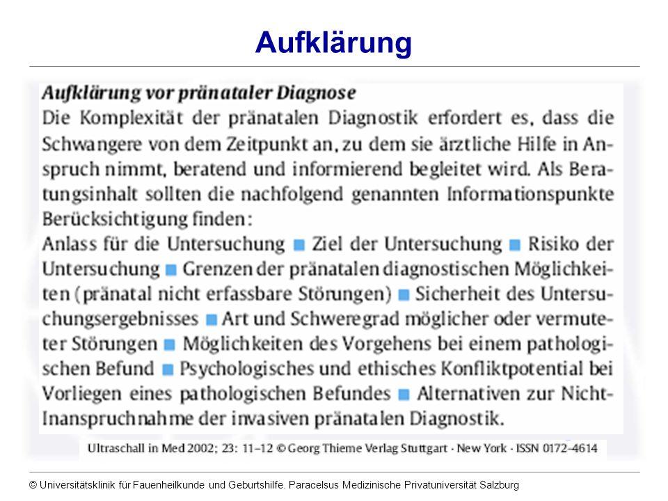 © Universitätsklinik für Fauenheilkunde und Geburtshilfe. Paracelsus Medizinische Privatuniversität Salzburg Aufklärung
