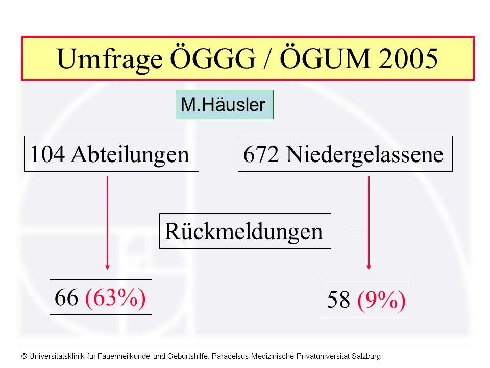 © Universitätsklinik für Fauenheilkunde und Geburtshilfe. Paracelsus Medizinische Privatuniversität Salzburg Umfrage ÖGGG / ÖGUM 2005 104 Abteilungen6