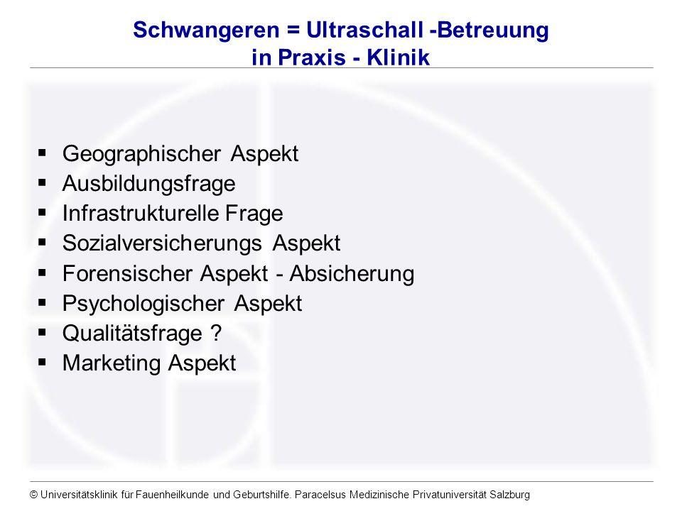 © Universitätsklinik für Fauenheilkunde und Geburtshilfe. Paracelsus Medizinische Privatuniversität Salzburg Schwangeren = Ultraschall -Betreuung in P