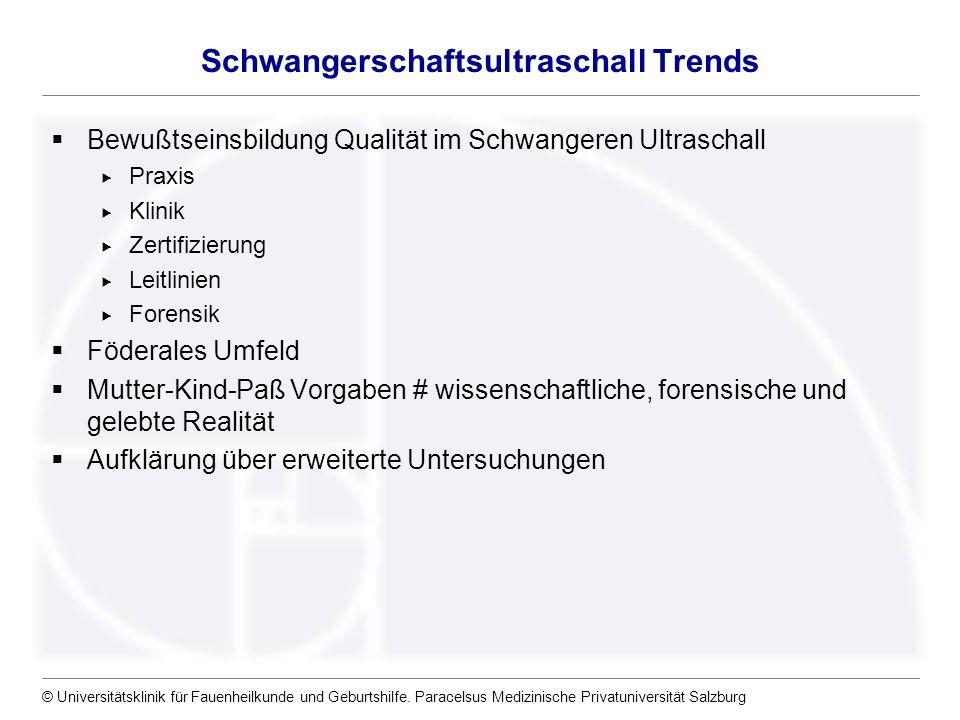 © Universitätsklinik für Fauenheilkunde und Geburtshilfe. Paracelsus Medizinische Privatuniversität Salzburg Schwangerschaftsultraschall Trends Bewußt