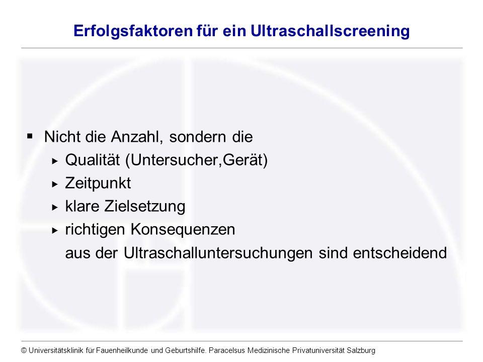 © Universitätsklinik für Fauenheilkunde und Geburtshilfe. Paracelsus Medizinische Privatuniversität Salzburg Erfolgsfaktoren für ein Ultraschallscreen