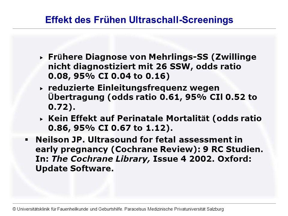 © Universitätsklinik für Fauenheilkunde und Geburtshilfe. Paracelsus Medizinische Privatuniversität Salzburg Fr ü here Diagnose von Mehrlings-SS (Zwil