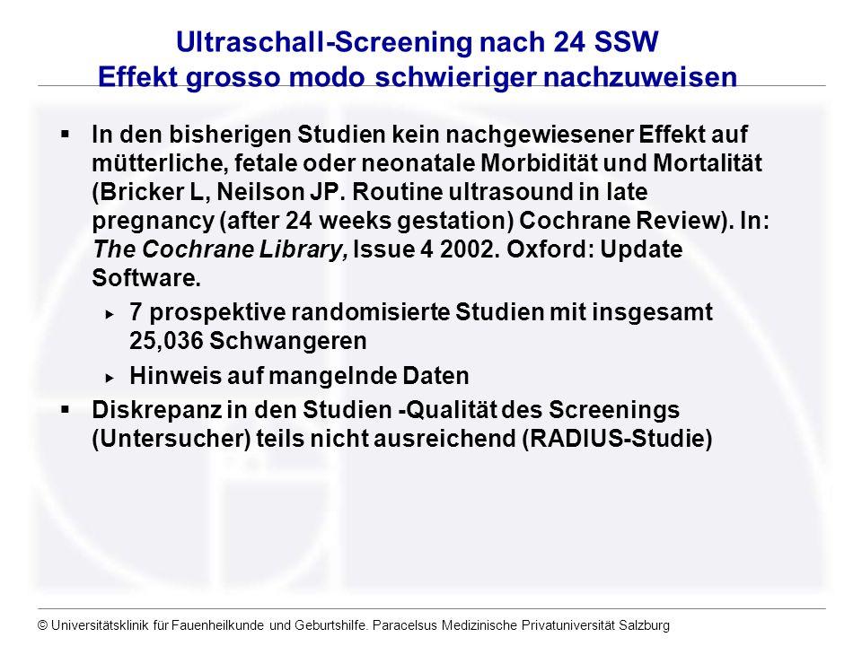 © Universitätsklinik für Fauenheilkunde und Geburtshilfe. Paracelsus Medizinische Privatuniversität Salzburg In den bisherigen Studien kein nachgewies