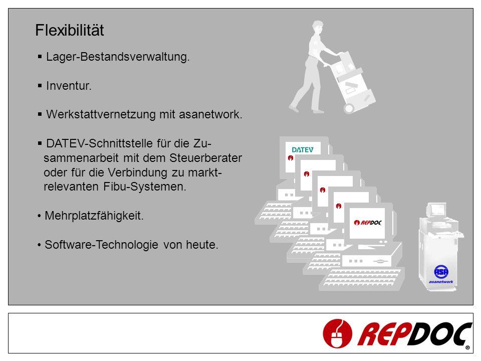 Flexibilität Lager-Bestandsverwaltung. Inventur. Werkstattvernetzung mit asanetwork. DATEV-Schnittstelle für die Zu- sammenarbeit mit dem Steuerberate