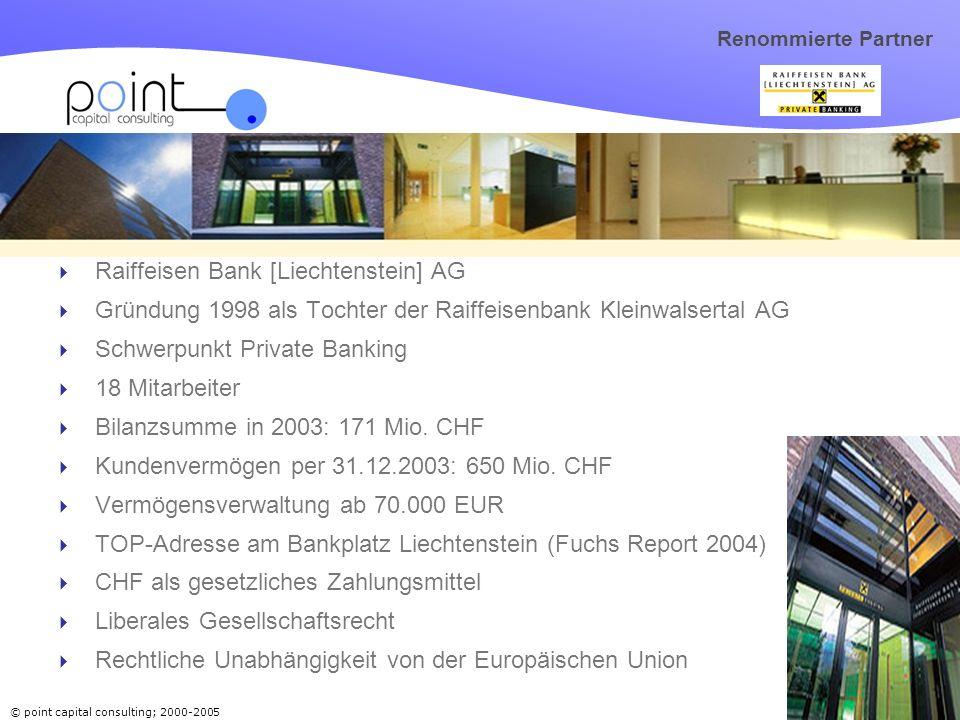 © point capital consulting; 2000-2005 16 Renommierte Partner Raiffeisen Bank [Liechtenstein] AG Gründung 1998 als Tochter der Raiffeisenbank Kleinwalsertal AG Schwerpunkt Private Banking 18 Mitarbeiter Bilanzsumme in 2003: 171 Mio.