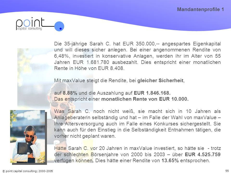 © point capital consulting; 2000-2005 55 Mandantenprofile 1 Die 35-jährige Sarah C.