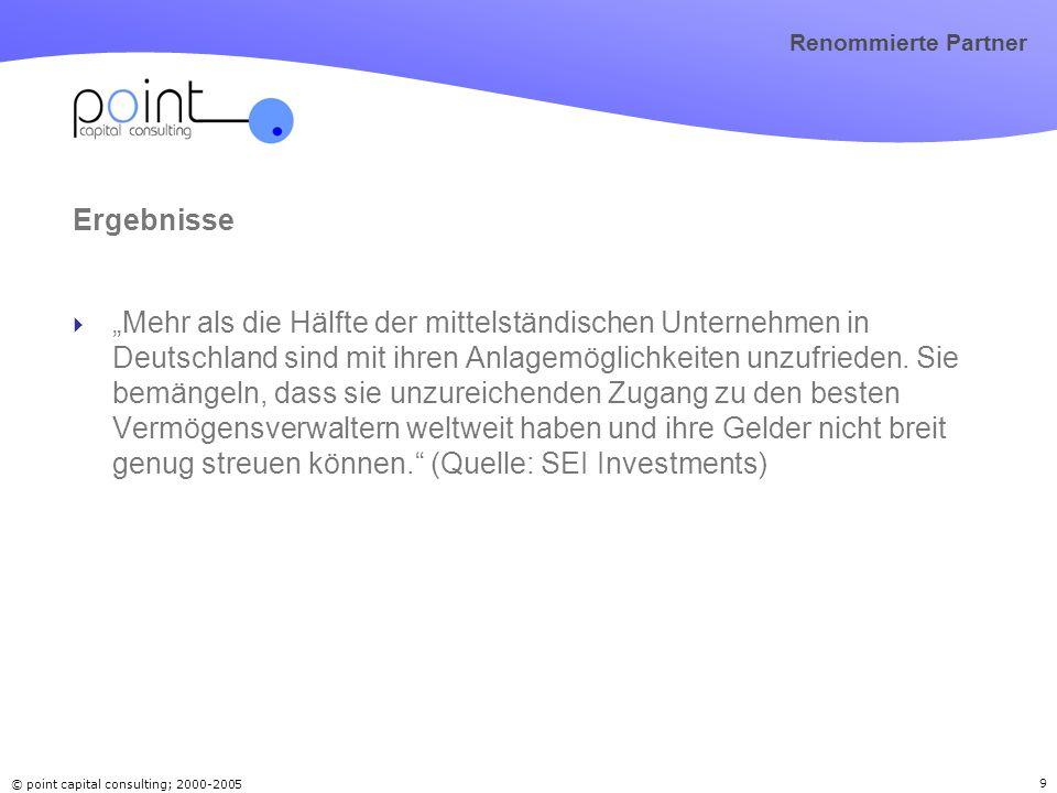 © point capital consulting; 2000-2005 9 Renommierte Partner Ergebnisse Mehr als die Hälfte der mittelständischen Unternehmen in Deutschland sind mit i