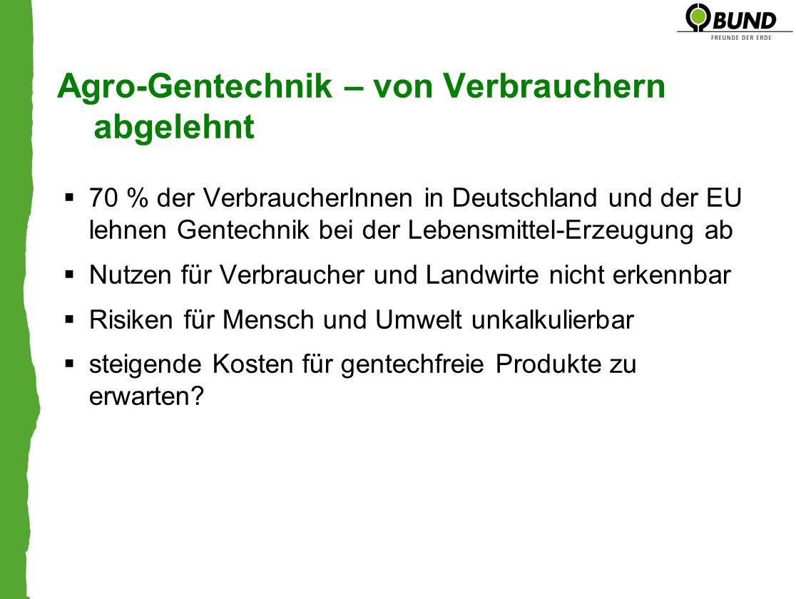 Agro-Gentechnik – von Verbrauchern abgelehnt 70 % der VerbraucherInnen in Deutschland und der EU lehnen Gentechnik bei der Lebensmittel-Erzeugung ab N