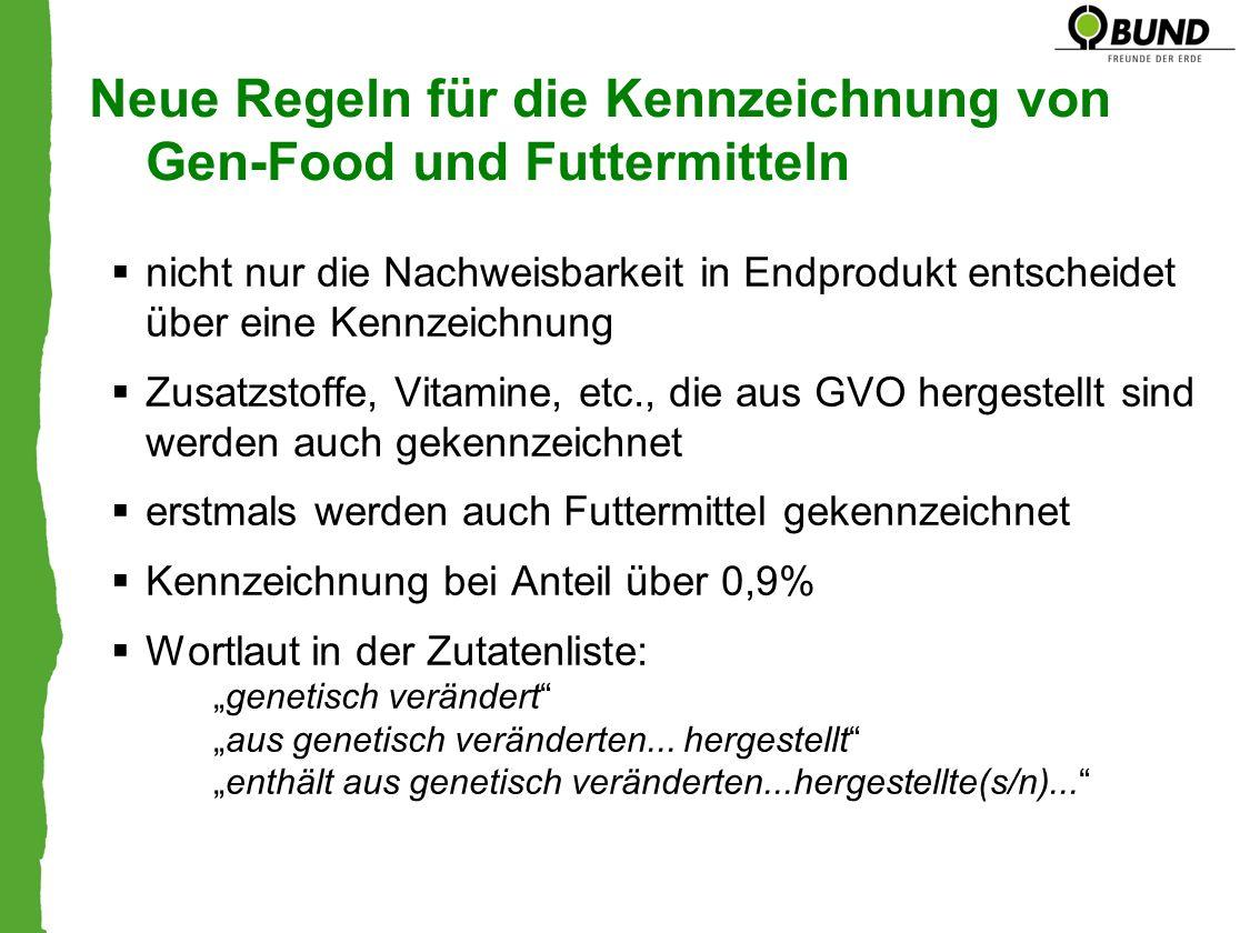 Neue Regeln für die Kennzeichnung von Gen-Food und Futtermitteln nicht nur die Nachweisbarkeit in Endprodukt entscheidet über eine Kennzeichnung Zusat