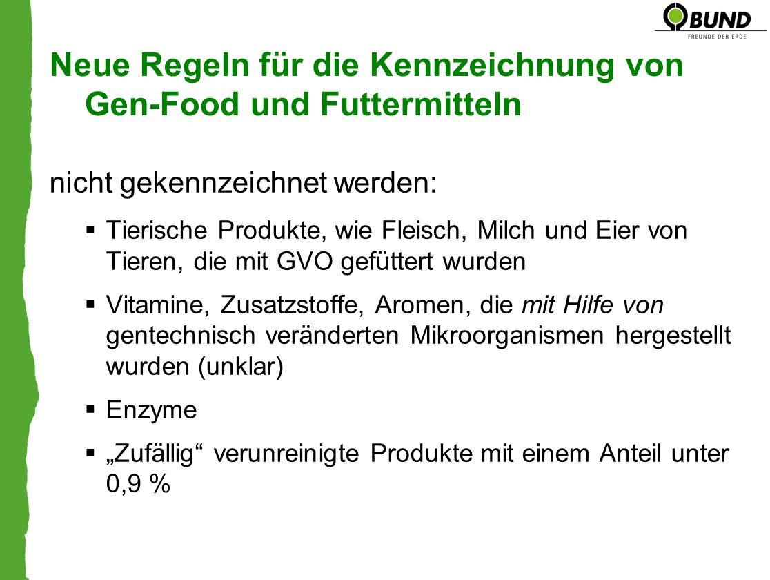 nicht gekennzeichnet werden: Tierische Produkte, wie Fleisch, Milch und Eier von Tieren, die mit GVO gefüttert wurden Vitamine, Zusatzstoffe, Aromen,