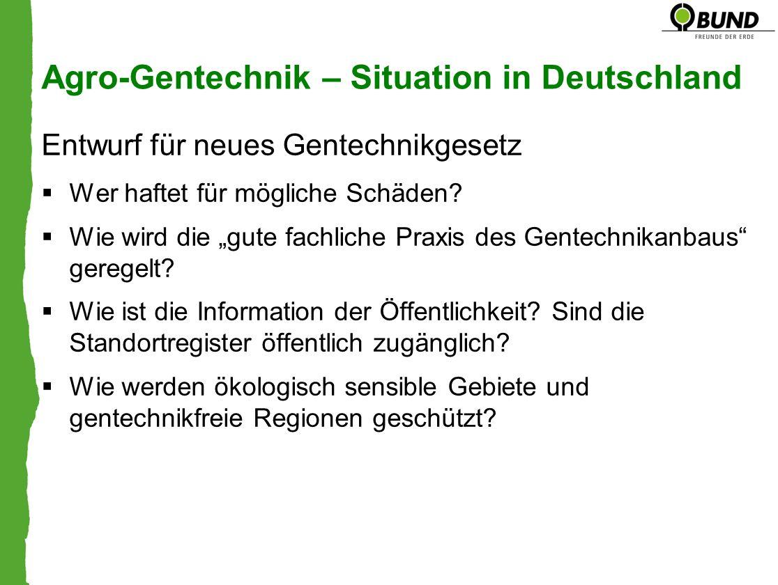 Agro-Gentechnik – Situation in Deutschland Entwurf für neues Gentechnikgesetz Wer haftet für mögliche Schäden? Wie wird die gute fachliche Praxis des