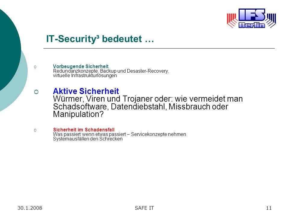 30.1.2008SAFE IT11 IT-Security³ bedeutet … Vorbeugende Sicherheit Redundanzkonzepte, Backup und Desaster-Recovery, virtuelle Infrastrukturlösungen Akt
