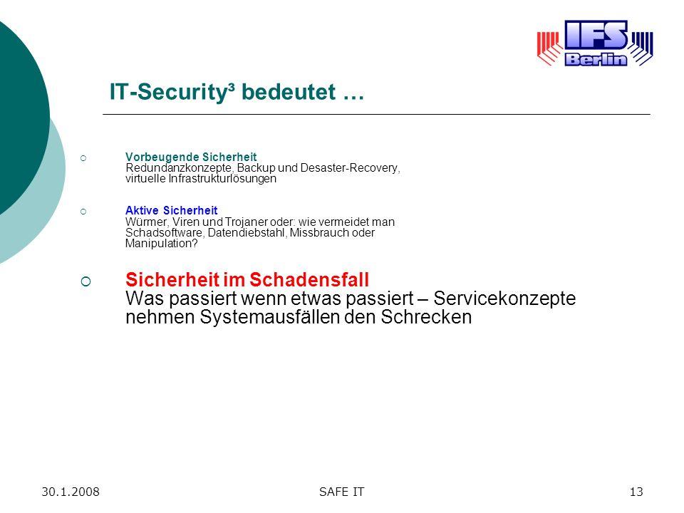 30.1.2008SAFE IT13 IT-Security³ bedeutet … Vorbeugende Sicherheit Redundanzkonzepte, Backup und Desaster-Recovery, virtuelle Infrastrukturlösungen Akt