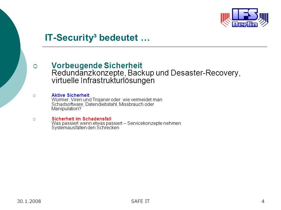 30.1.2008SAFE IT4 IT-Security³ bedeutet … Vorbeugende Sicherheit Redundanzkonzepte, Backup und Desaster-Recovery, virtuelle Infrastrukturlösungen Akti