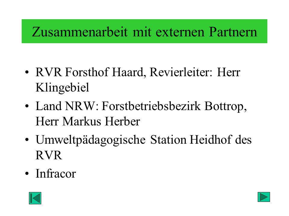Zusammenarbeit mit externen Partnern RVR Forsthof Haard, Revierleiter: Herr Klingebiel Land NRW: Forstbetriebsbezirk Bottrop, Herr Markus Herber Umwel