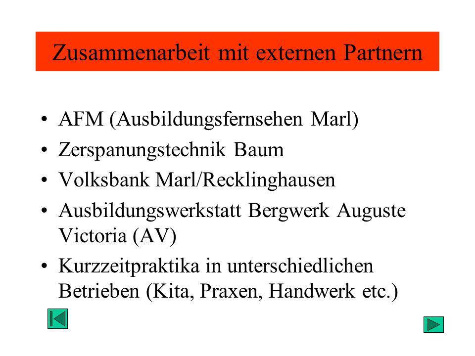 Zusammenarbeit mit externen Partnern AFM (Ausbildungsfernsehen Marl) Zerspanungstechnik Baum Volksbank Marl/Recklinghausen Ausbildungswerkstatt Bergwe