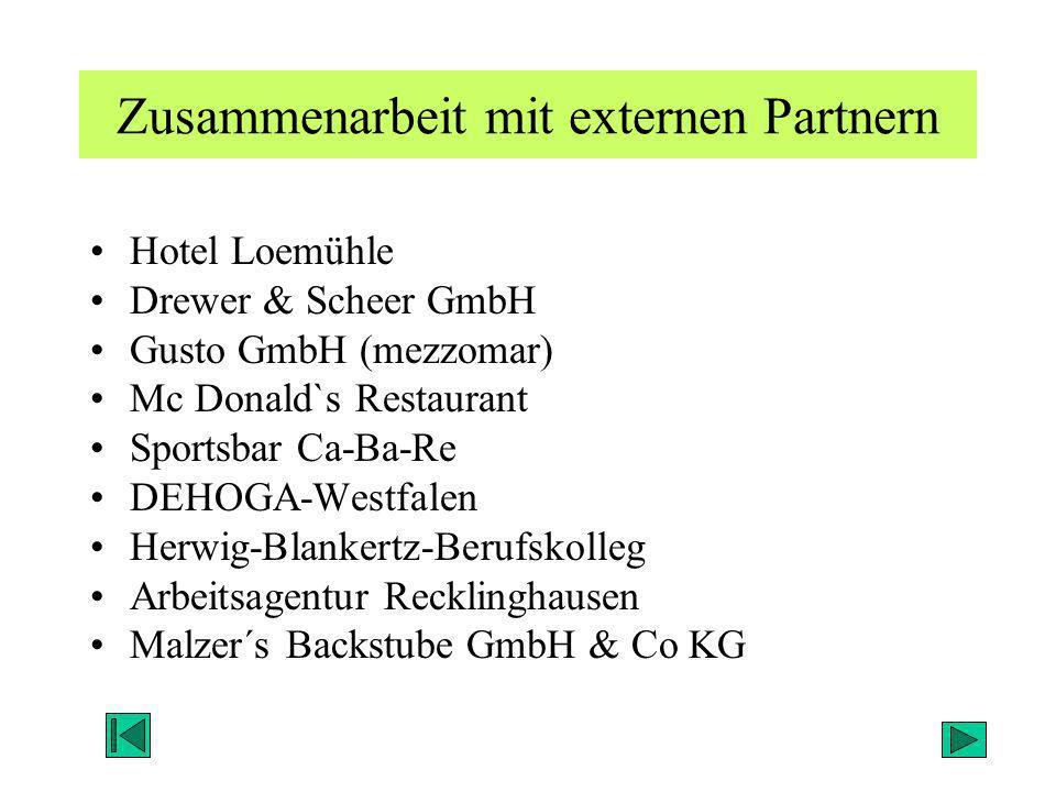 Zusammenarbeit mit externen Partnern Hotel Loemühle Drewer & Scheer GmbH Gusto GmbH (mezzomar) Mc Donald`s Restaurant Sportsbar Ca-Ba-Re DEHOGA-Westfa