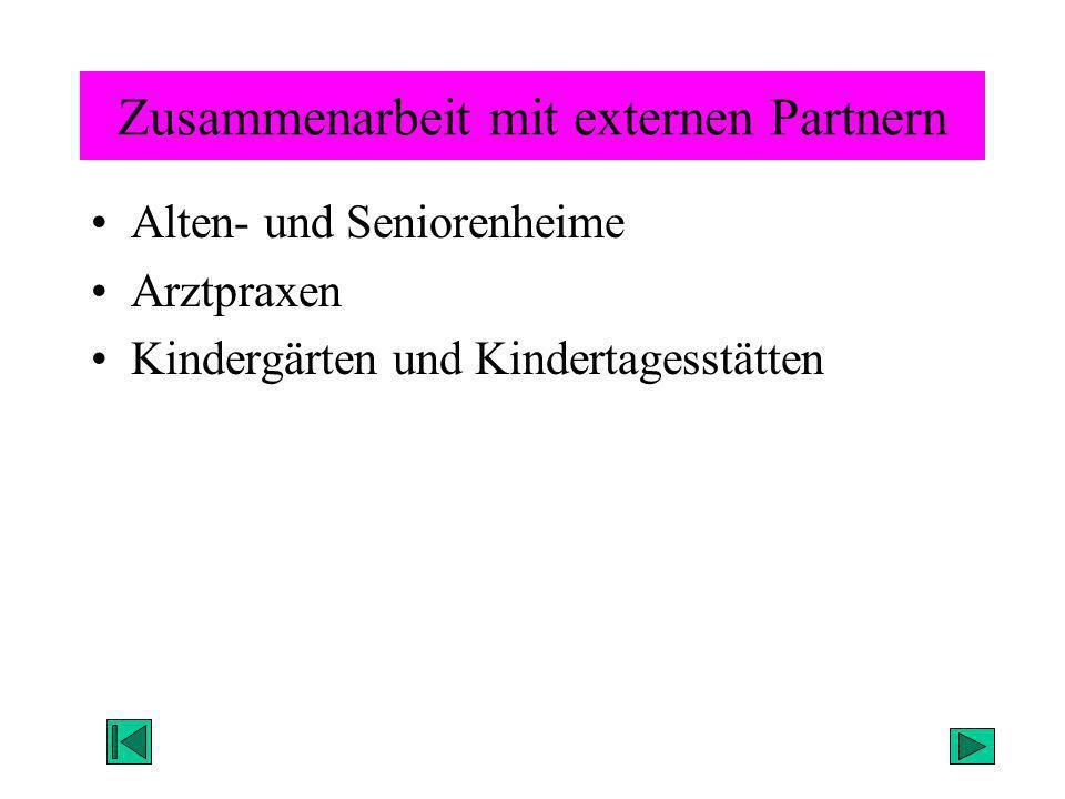 Zusammenarbeit mit externen Partnern Alten- und Seniorenheime Arztpraxen Kindergärten und Kindertagesstätten