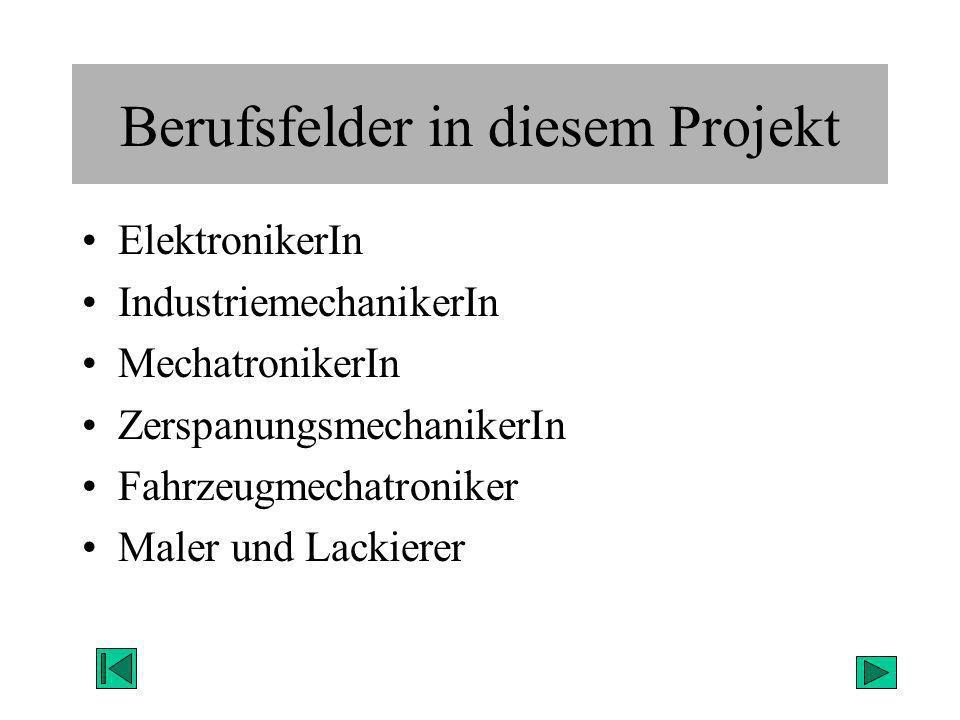 Berufsfelder in diesem Projekt ElektronikerIn IndustriemechanikerIn MechatronikerIn ZerspanungsmechanikerIn Fahrzeugmechatroniker Maler und Lackierer