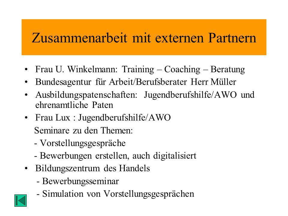 Zusammenarbeit mit externen Partnern Frau U. Winkelmann: Training – Coaching – Beratung Bundesagentur für Arbeit/Berufsberater Herr Müller Ausbildungs