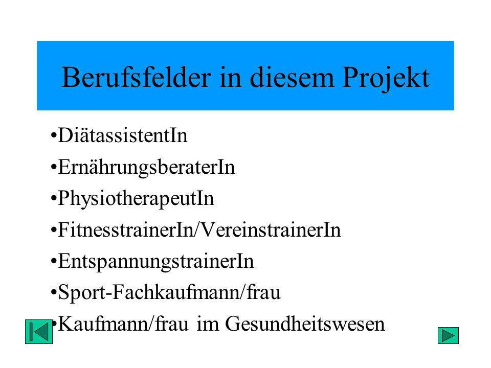 Berufsfelder in diesem Projekt DiätassistentIn ErnährungsberaterIn PhysiotherapeutIn FitnesstrainerIn/VereinstrainerIn EntspannungstrainerIn Sport-Fac