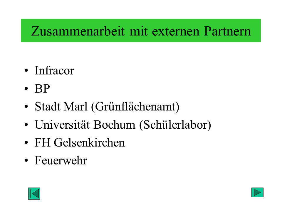 Zusammenarbeit mit externen Partnern Infracor BP Stadt Marl (Grünflächenamt) Universität Bochum (Schülerlabor) FH Gelsenkirchen Feuerwehr