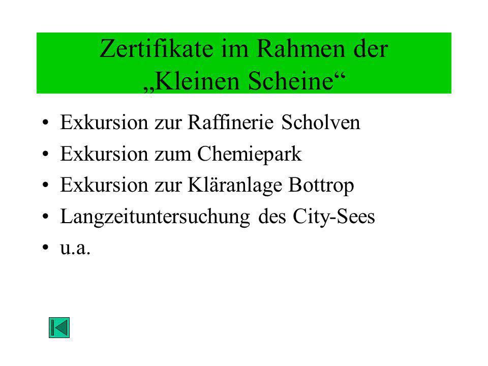 Zertifikate im Rahmen der Kleinen Scheine Exkursion zur Raffinerie Scholven Exkursion zum Chemiepark Exkursion zur Kläranlage Bottrop Langzeituntersuc