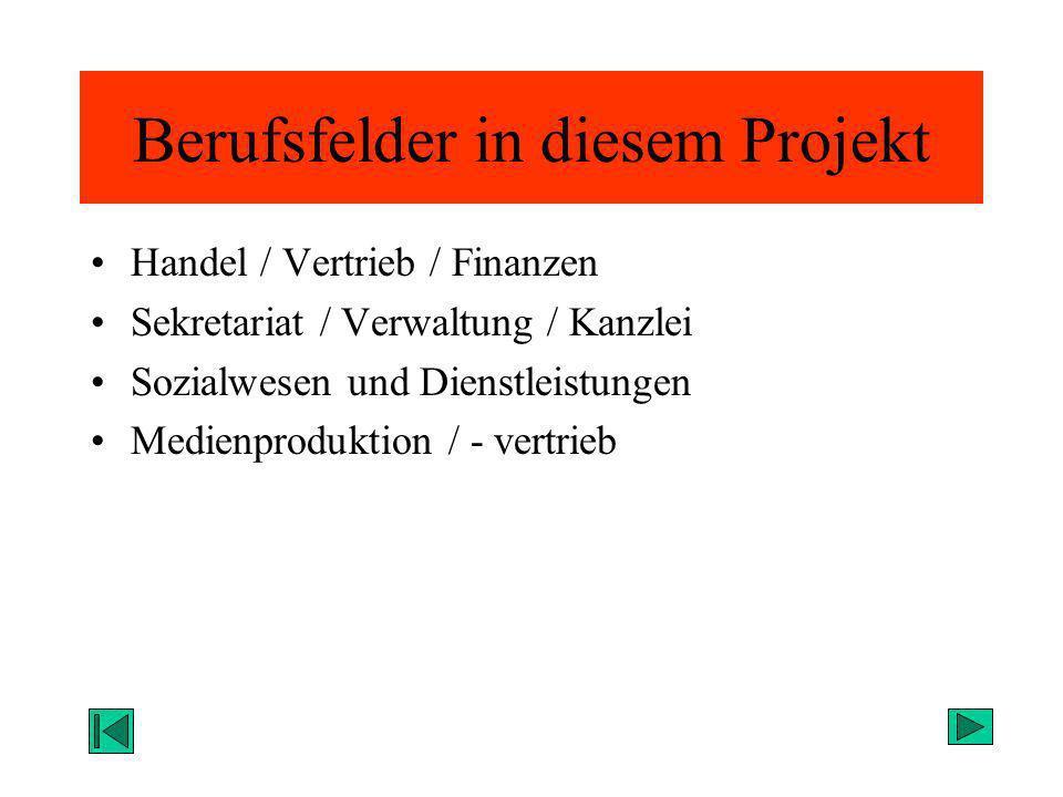 Berufsfelder in diesem Projekt Handel / Vertrieb / Finanzen Sekretariat / Verwaltung / Kanzlei Sozialwesen und Dienstleistungen Medienproduktion / - v