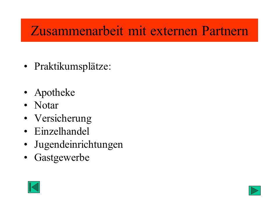 Zusammenarbeit mit externen Partnern Praktikumsplätze: Apotheke Notar Versicherung Einzelhandel Jugendeinrichtungen Gastgewerbe